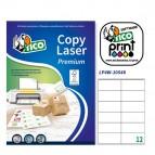 Etichetta adesiva LP4W - permanente - 105x48 mm - 12 etichette per foglio - bianco - Tico - conf. 100 fogli A4