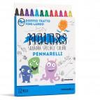 Astuccio 12 pennarelli Molors fine - colori assortiti - Osama