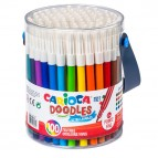 Pennarelli Doodles - punta fine - colori assortiti - Carioca - Barattolo 100 pezzi