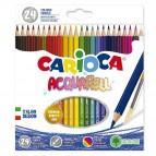 Astuccio 24 pastelli colorati acquerellabili - colori assortiti - Carioca
