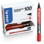 Scatola Marcatore Permanente Markers 100  - punta tonda 4,50mm - rosso - Pilot - conf. 15 pezzi + 5 pezzi gratis