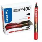 Scatola Marcatore Permanente Markers 400  - punta a scalpello 4,50mm - rosso - Pilot - scatola 15 pezzi +5 pezzi gratis