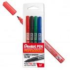 Marcatore permanente N50 - punta tonda 3,18mm - astuccio 4 colori assortiti - Pentel