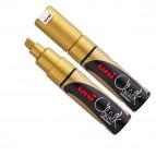Marcatore a gesso liquido Uni Chalk Marker - punta a scalpello da 1,80-2,50mm - oro - Uni Mitsubishi