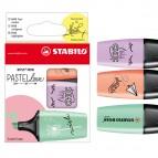 Evidenziatori Boss Mini Pastellove - punta a scalpello - tratto da 2,0-5,0mm - astuccio 3 colori pastello: verde menta, glicine, rosa pesca  - Stabilo