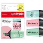 Evidenziatori Boss Mini Pastellove - punta a scalpello - tratto da 2,0-5,0mm - astuccio 3 colori pastello: verde menta, rosa antico, carta da zucchero - Stabilo