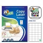 Etichetta adesiva LP4W - permanente - 47,5x35 mm - 32 etichette per foglio - bianco - Tico - conf. 100 fogli A4