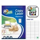 Etichetta adesiva LP4W - permanente - 70x25 mm - 36 etichette per foglio - bianco - Tico - conf. 100 fogli A4