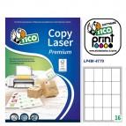Etichetta adesiva LP4W - permanente - 47,7x70 mm - 16 etichette per foglio - bianco - Tico - conf. 100 fogli A4