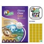 Etichetta adesiva GL4 - sagomata - permanente - 45x21 mm - 48 etichette per foglio - satinata oro - Tico - conf. 100 fogli A4
