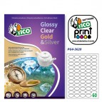Etichetta adesiva PG4 - permanente - 36x22 mm - 55 etichette per foglio - bianco  lucido - Tico - conf. 100 fogli A4