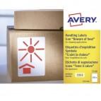Etichette con simbolo (TEME IL CALORE) - 74x100 mm - permanente - rosso - Avery - rotolo da 200 etichette