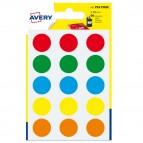 Etichetta adesiva tonda PSA - permanente - ø 19 mm - colori assortiti - Avery - blister 90 etichette