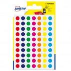 Etichetta adesiva tonda PSA - permanentei - ø 8 mm - colori assortiti - Avery - blister 420 etichette
