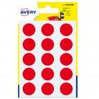 Etichetta adesiva tonda PSA - permanente - ø 19 mm - rosso - Avery - blister 90 etichette