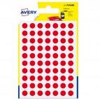 Etichetta adesiva tonda PSA - permanente - ø 8 mm - rosso - Avery - blister 420 etichette