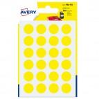 Etichetta adesiva tonda PSA - permanente - ø 15 mm - giallo - Avery - blister 168 etichette