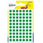 Etichetta adesiva tonda PSA - permanente - ø 8 mm - verde - Avery - blister 420 etichette