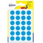 Etichetta adesiva tonda PSA - permanente - ø 15 mm - blu - Avery - blister 168 etichette