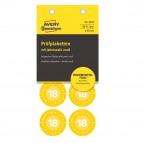 Bollini di ispezione adesivi - non rimovibili - tondi - anno 2018 - ø 30 mm - 8 bollini per foglio - giallo - Avery - blister da 10 fogli