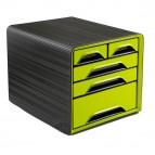 Cassettiera Smoove - 36x28,8x27 cm - 5 cassetti misti - nero/verde anice - Cep