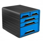 Cassettiera Smoove - 36x28,8x27 cm - 5 cassetti misti - nero/blu oceano - Cep