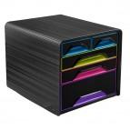 Cassettiera Smoove - 36x28,8x27 cm - 5 cassetti misti - nero/multicolore - Cep