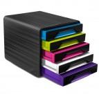 Cassettiera Smoove - 36x28,8x27 cm - 5 cassetti standard - nero/multicolore - Cep