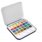 Acquerelli Aquafine - colori assortiti - Daler Rowney -  scatola metallo 24 acquerelli + pennello + tavolozza