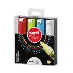 Marcatore a gesso liquido Uni Chalk Marker - punta scalpello da 1,80-2,50mm - astuccio 4 colori assortiti - Uni Mitsubishi