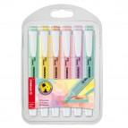 Astuccio evidenziatore Swing Cool  pastel - punta a scalpello - tratto 1,0-4,0mm - astuccio 6 colori: carta da zucchero,verde menta,rosa pesca,rosa antico,giallo banana,glicine - Stabilo