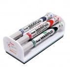 Set 4 marcatori Maxiflo con cancellino - punta conica 4mm - colori : nero,blu,rosso,verde - Pentel