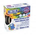 Nastro adesivo telato TPA 200 - 19 mm x 2,7 mt - nero - Eurocel