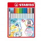 Pennarelli Pen 68 Brush - Stabilo - scatola metallo 15 pezzi
