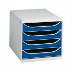 Cassettiera BIG-BOX Exacompta - Box grigio chiaro - blu - 4 cassetti - 310003D