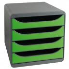 Cassettiera BIG-BOX Exacompta - Box grigio scuro - verde mela - 4 cassetti - 310795D