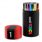 Marcatore Uni Posca - punta media 1,8-2,5 mm - colori assortiti - Uni Mitsubishi - gift box 24 pezzi
