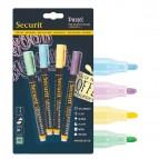 Marcatore a gesso liquido - punta fine da 1,00 - 2,00 mm - colori assortiti pastello - Securit - blister 4 pezzi