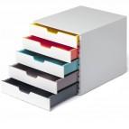 Cassettiera 5 cassetti colorati - bianco ghiaccio - cassetti 5 cm - Durable