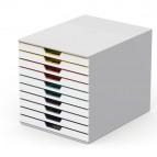Cassettiera 10 cassetti colorati varicolor - bianco ghiaccio - 2,5cm - Durable