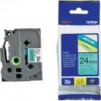 Brother - Nastro -  Nero/Verde - TZE751 - 24mm x 8mt