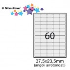 Etichetta adesiva - permanente - 37,5x23,5 mm - angoli tondi - 60 etichette per foglio - bianco - Starline - conf. 100 fogli A4