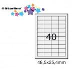 Etichetta adesiva - permanente - 48,5x25,4 mm - 40 etichette per foglio - bianco - Starline - conf. 100 fogli A4