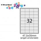 Etichetta adesiva - permanente - 47,5x35 mm - angoli tondi - 32 etichette per foglio - bianco - Starline - conf. 100 fogli A4