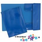 Cartellina con elastico - cartone plastificato - 3 lembi - 25x34 cm - azzurro - Queen Starline