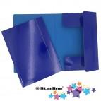 Cartellina con elastico - cartone plastificato - 3 lembi - 25x34 cm - blu - Queen Starline