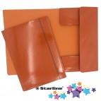 Cartellina con elastico - cartone plastificato - 3 lembi - 25x34 cm - arancio - Queen Starline